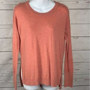 Shrinking Violet Hi-Low Pullover Sweater Rib Trim